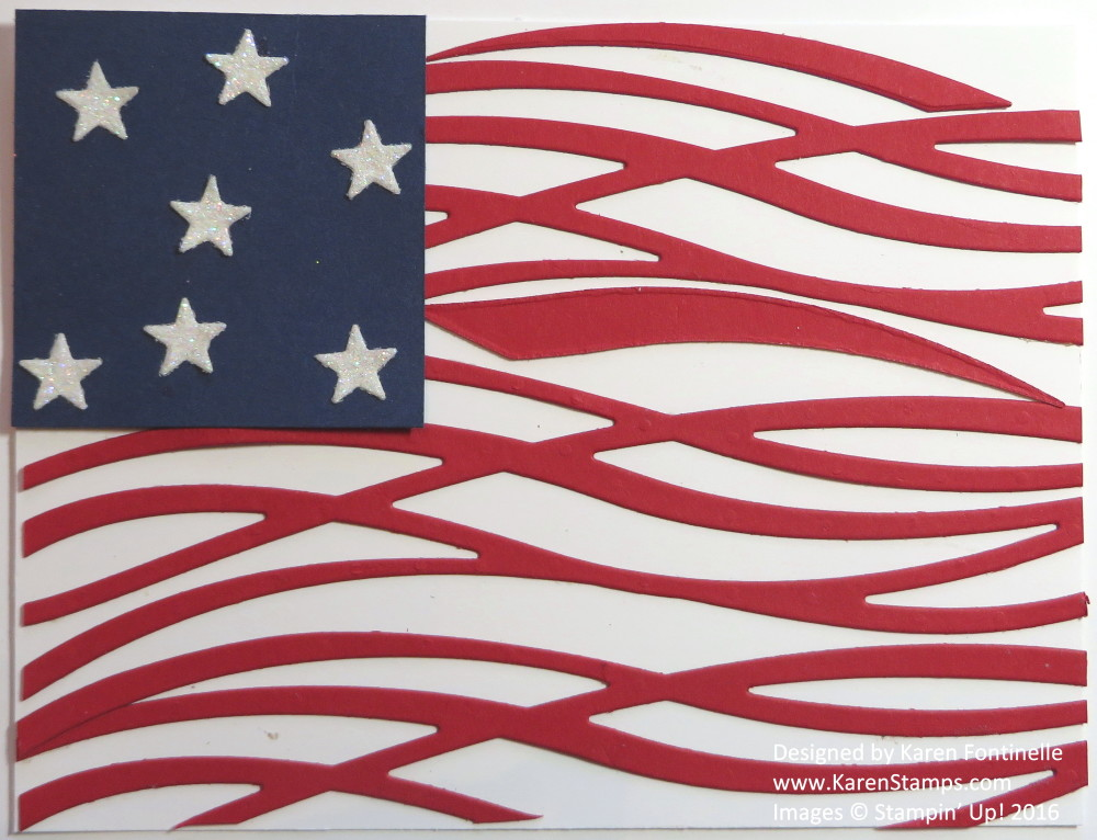 4th of July Flag Card with Swirly Scribbles Thinlits