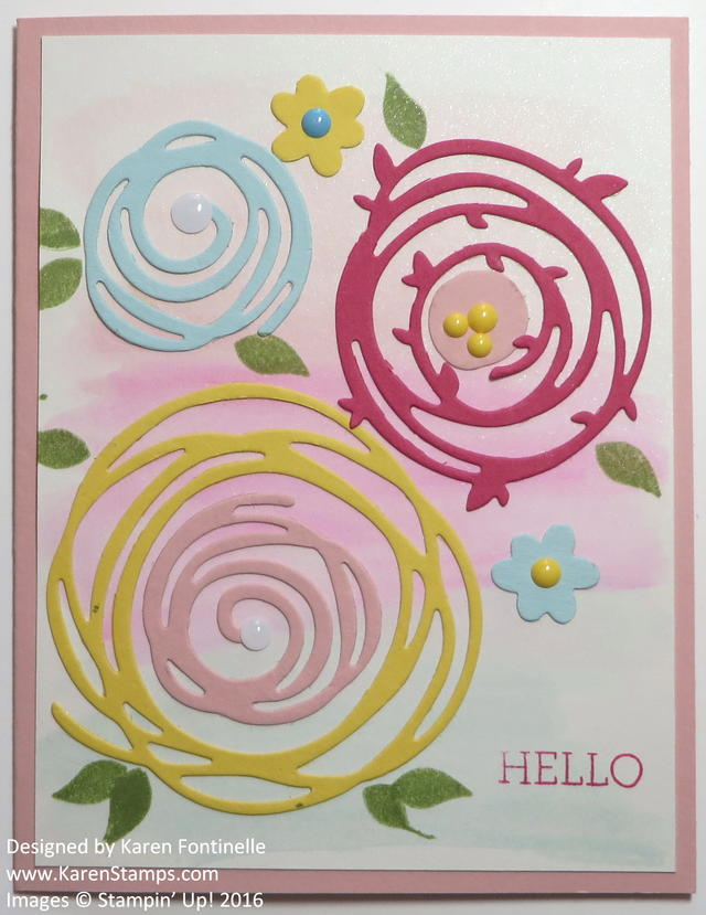 Swirly Scribbles Flowers and Watercolored Background
