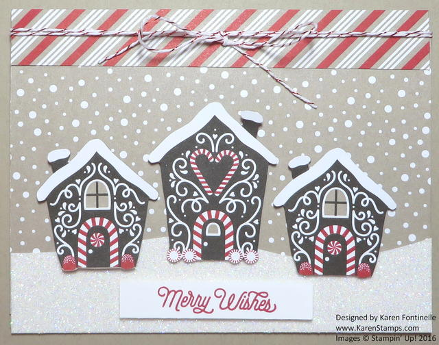 Candy Cane Lane Houses Christmas Card