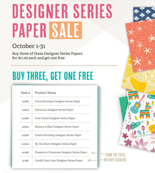 Designer Series Paper Sale List of Papers