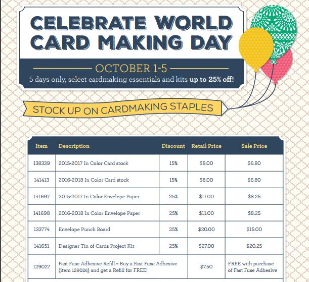 World Card Making Day Stampin' Up! Discounts