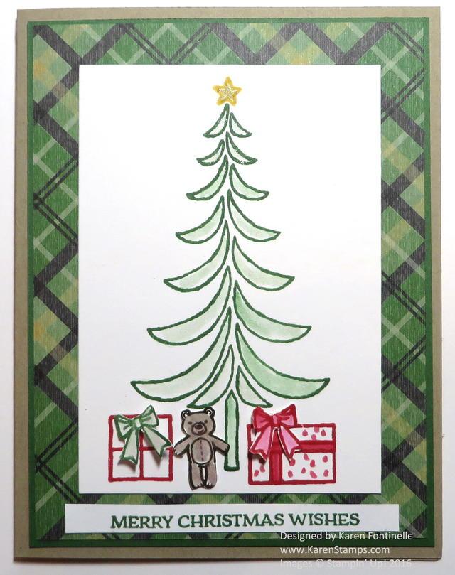 Santa's Sleigh Modern Christmas Tree Card