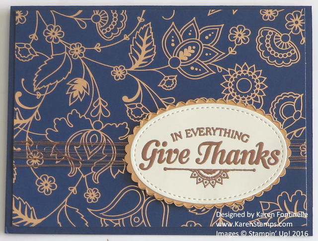 Petals & Paisleys Copper Foil Thanksgiving Card