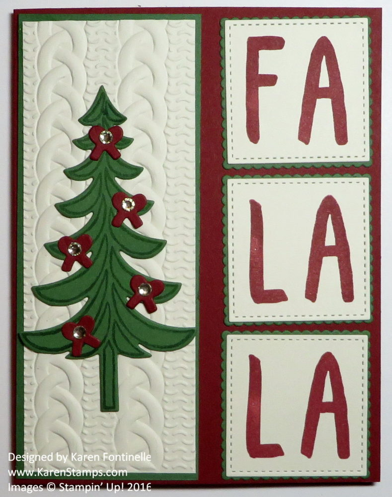 Layered Letters Fa La La Christmas Card
