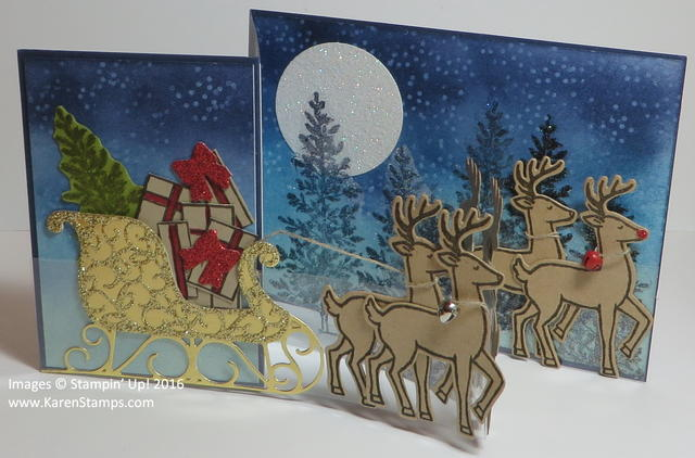Santa's Sleigh Double Z Fold Christmas Card