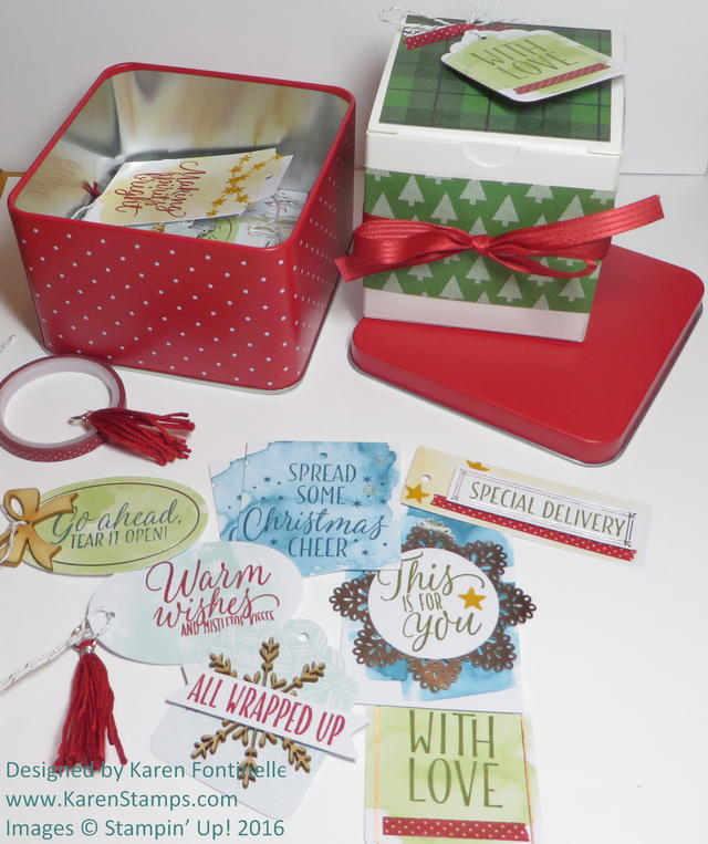 Tin of Tags Assortment and White Gift Christmas Box
