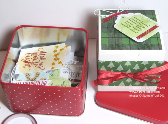 Tin of Tags and Christmas White Gift Box