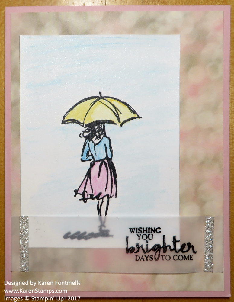 Beautiful You Watercolor Rainy Day Card