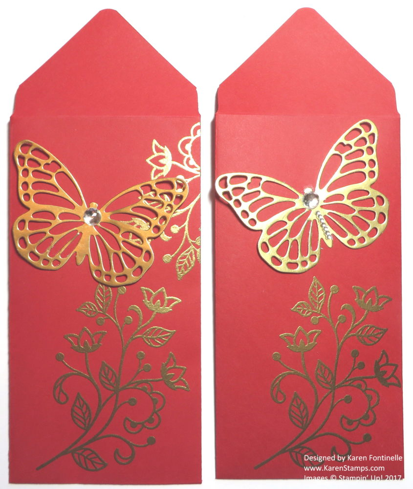 Chinese New Year Red Money Envelopes Gold Butterfly