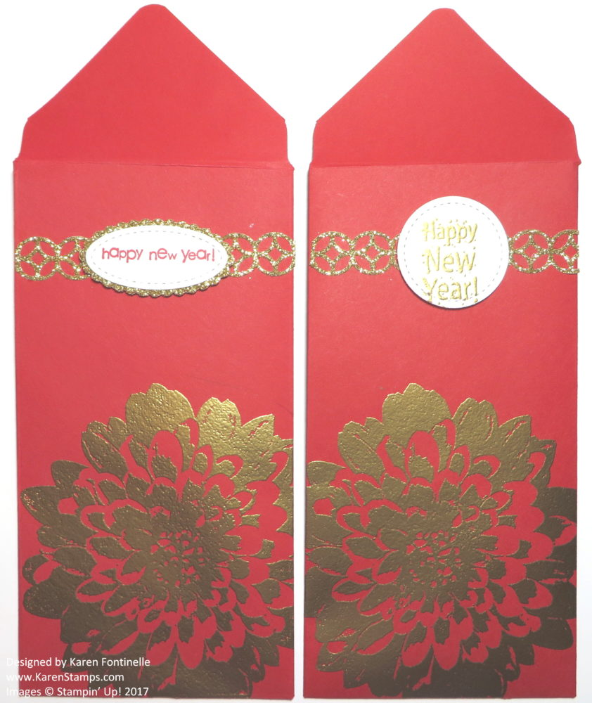 Chinese New Year Red Money Envelopes Gold Embossed Dahlia