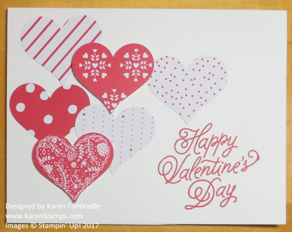 Quick and Easy Last Minute Punched Hearts Valentine Card