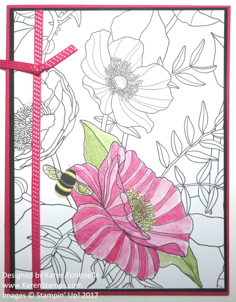 Stress Relieving Adult Coloring Flower Card