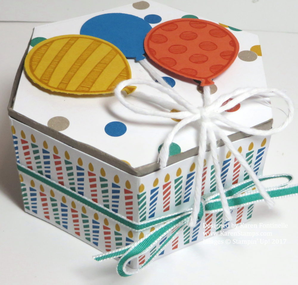 Hexagonal Decorated Birthday Gift Box