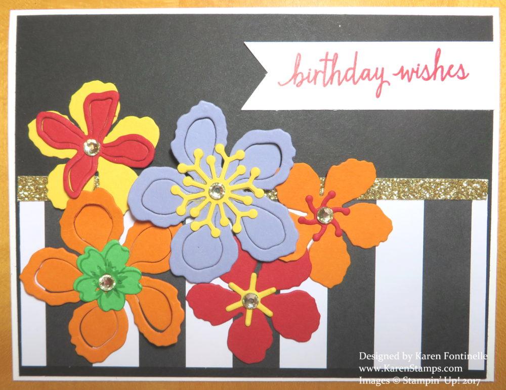 Die Cut Flowers Black and White Birthday CardDie Cut Flowers Black and White Birthday Card