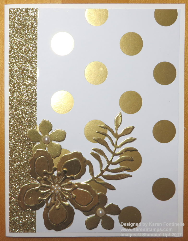 Elegant Gold Foil Botanical Blooms Card