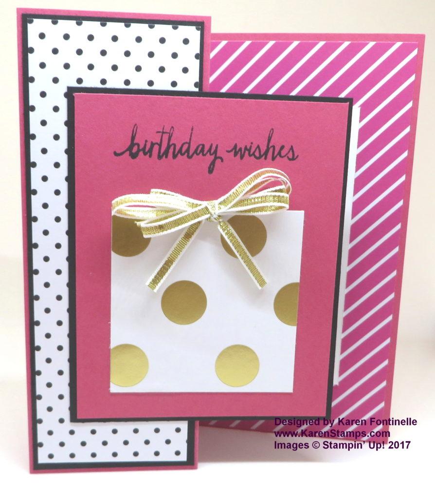 Z Fold Pop of Pink Birthday Card