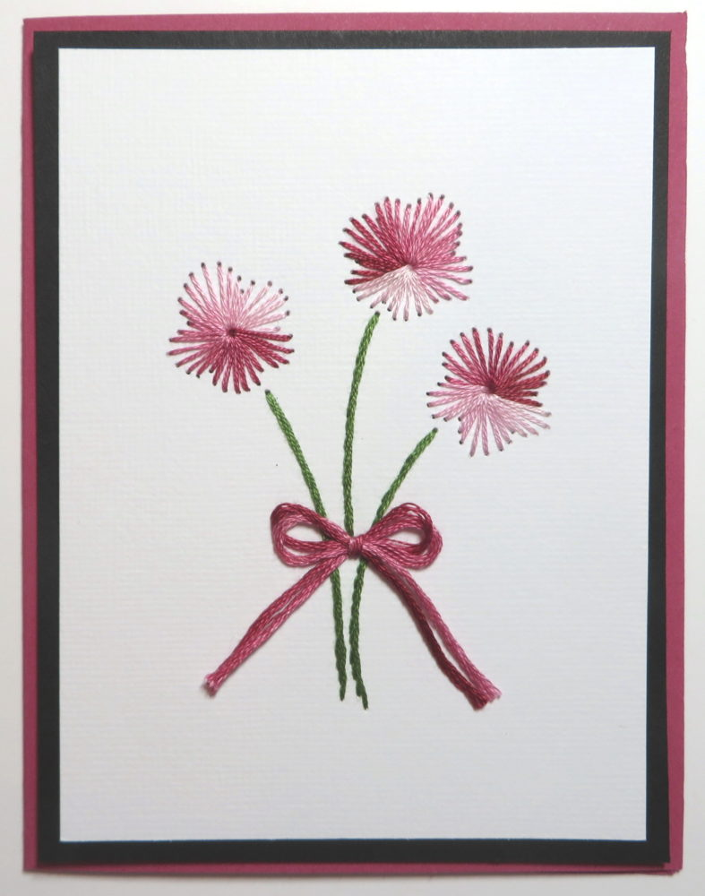 Embroidered Cards Pink and Black