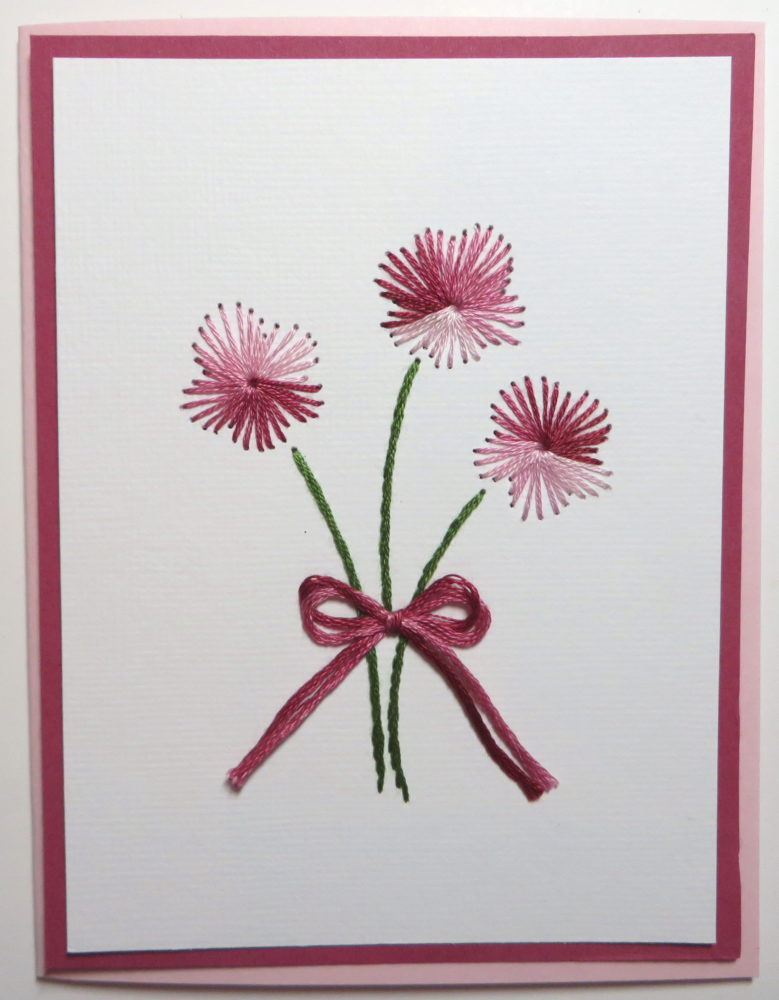 Embroidered Cards Pink