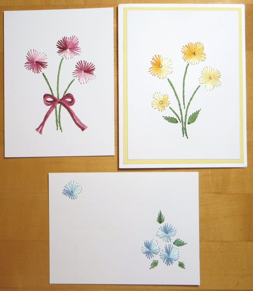 Embroidered flowers on cardstock made into greeting cards stamping embroidered cards m4hsunfo