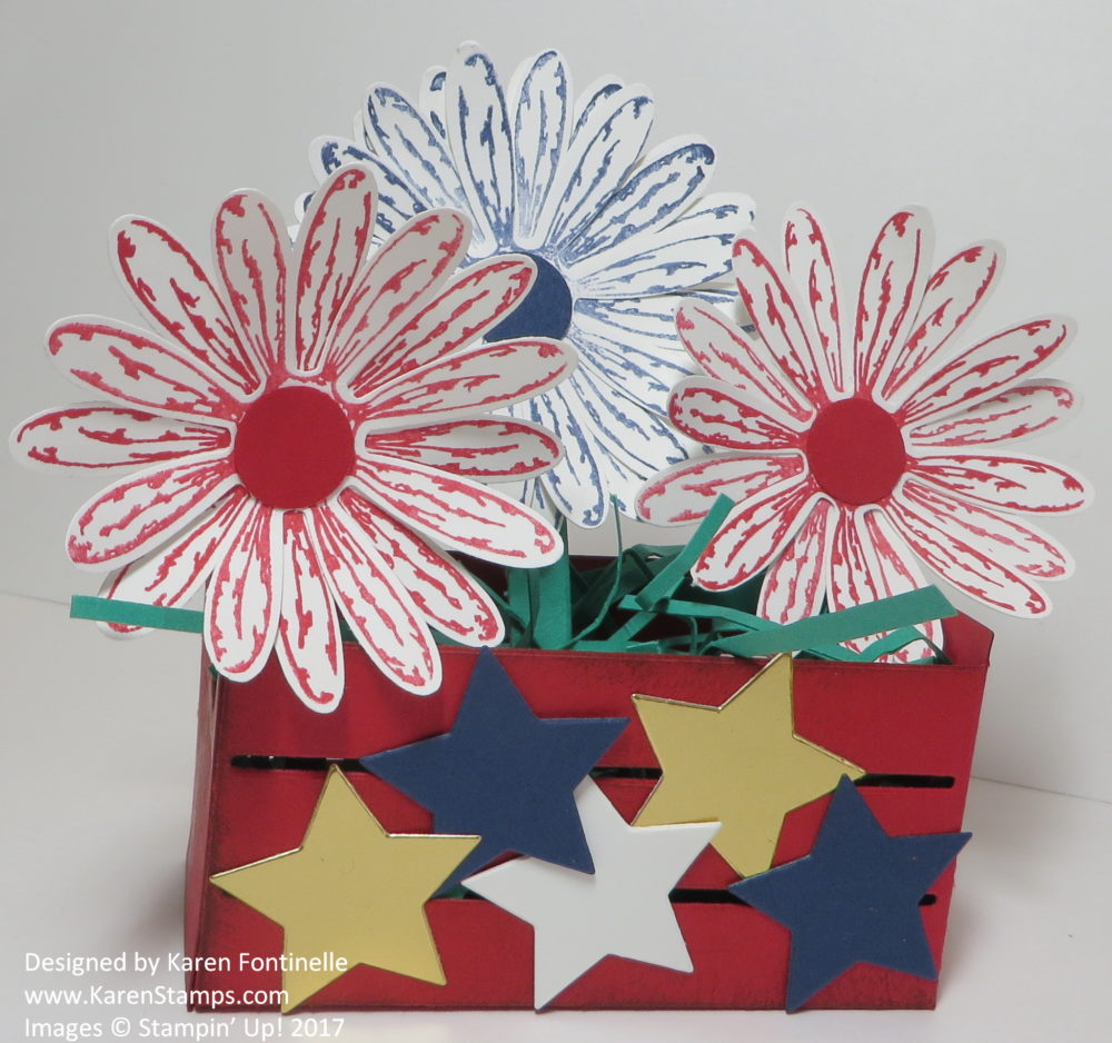 4th of July Patriotic Crate With Daisies