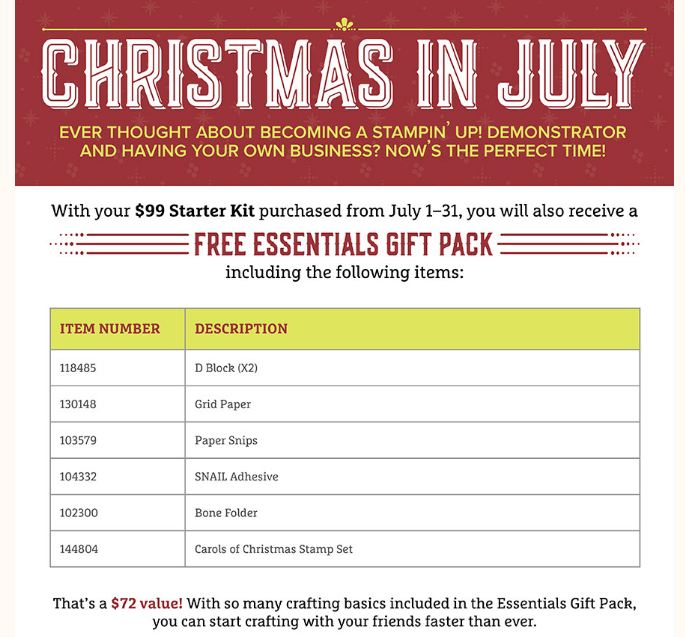 Christmas in July Become a Demonstrator