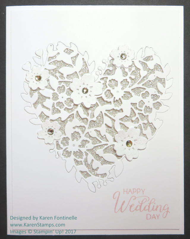 Wedding Card with Bloomin' Heart Inlaid Design