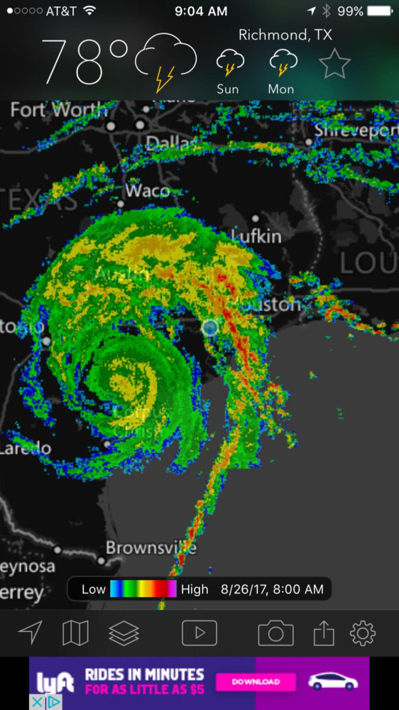 Hurricane Harvey Aug 26 9 am
