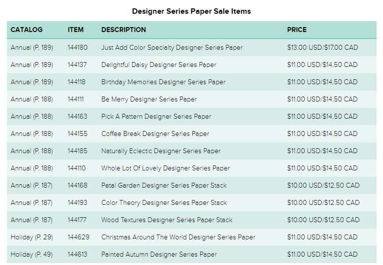 Designer Series Paper Sale Items