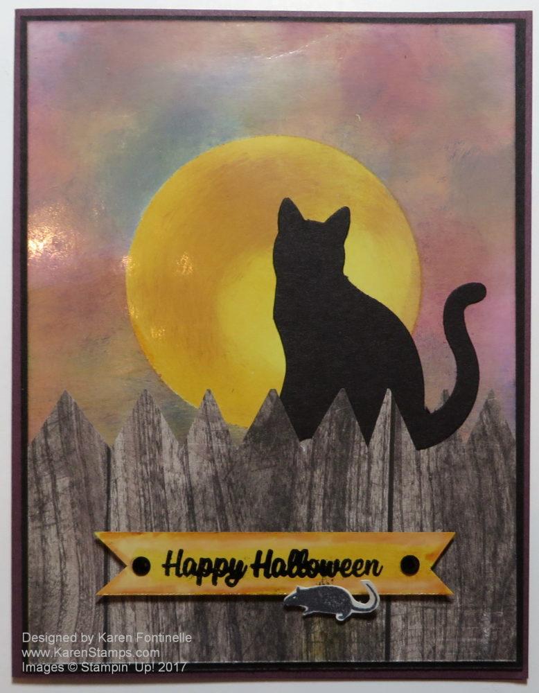 Spooky Cat Halloween Moon Card