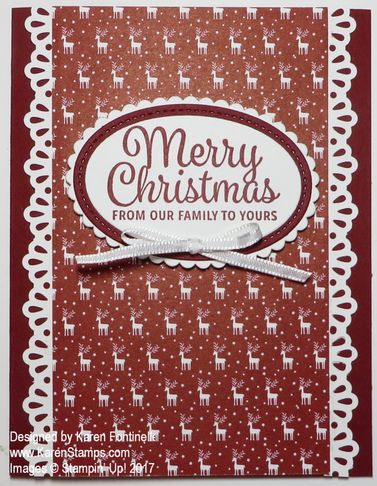 Be Merry Christmas Card with Decorative Ribbon Border Punch