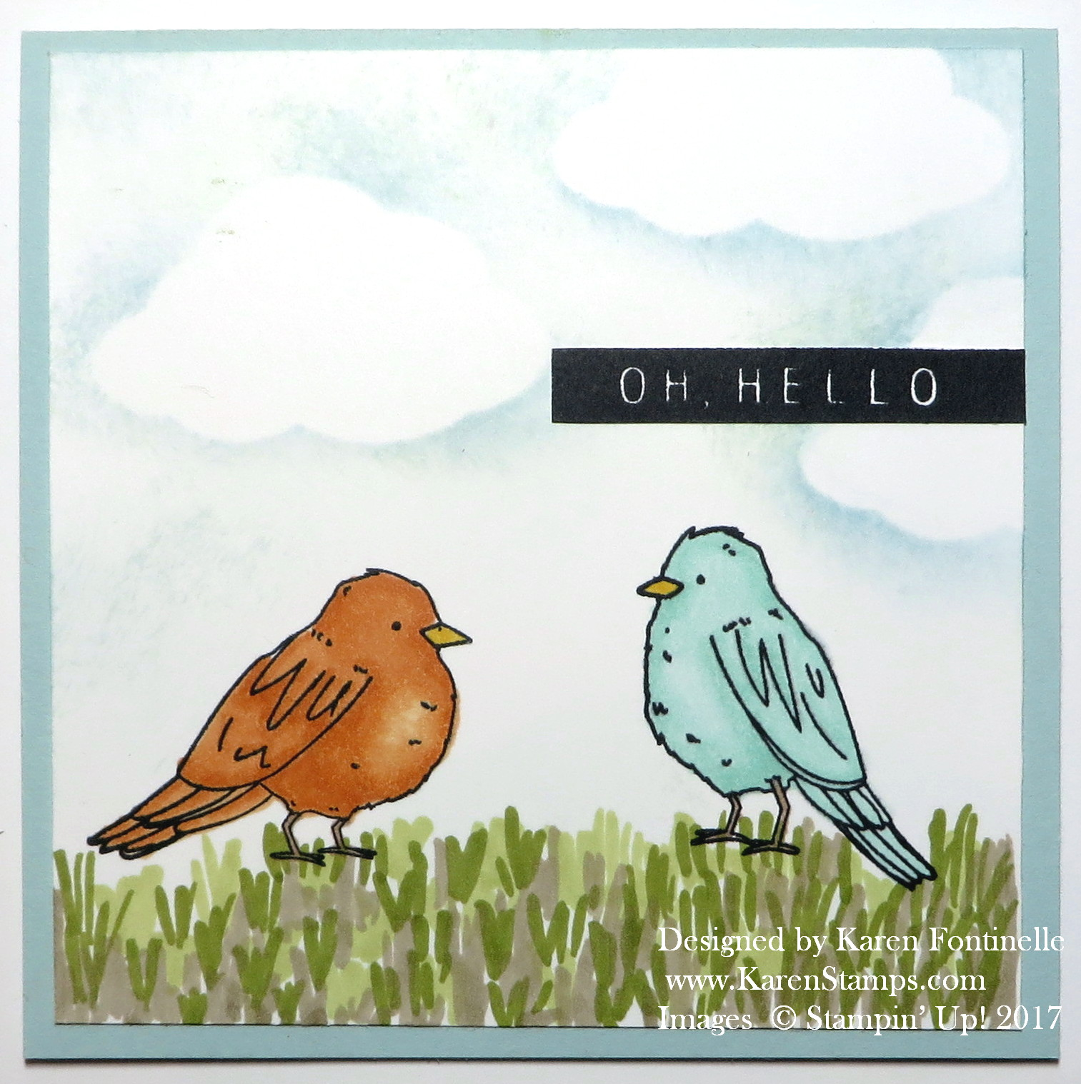 Color Me Happy Stampin' Blends Birds Card