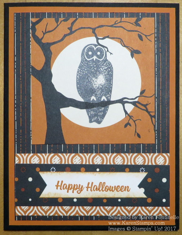 Easy Spooky Night Owl Halloween Card