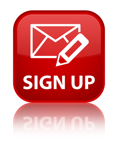 Sign up glossy red reflected square button