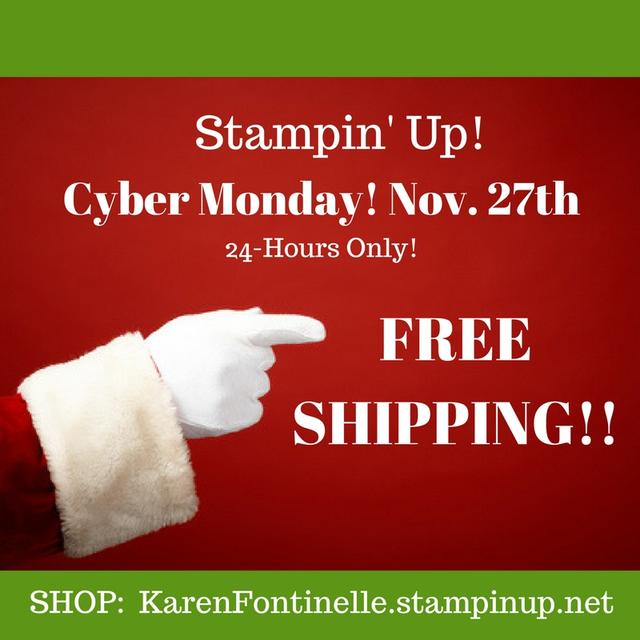 Stampin' Up! FREE SHIPPING on Cyber Monday!