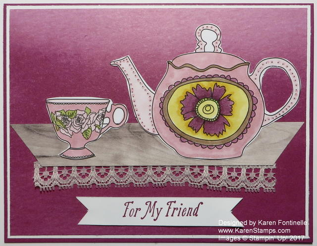 Stampin' Blends Just Add Color Teapot Card