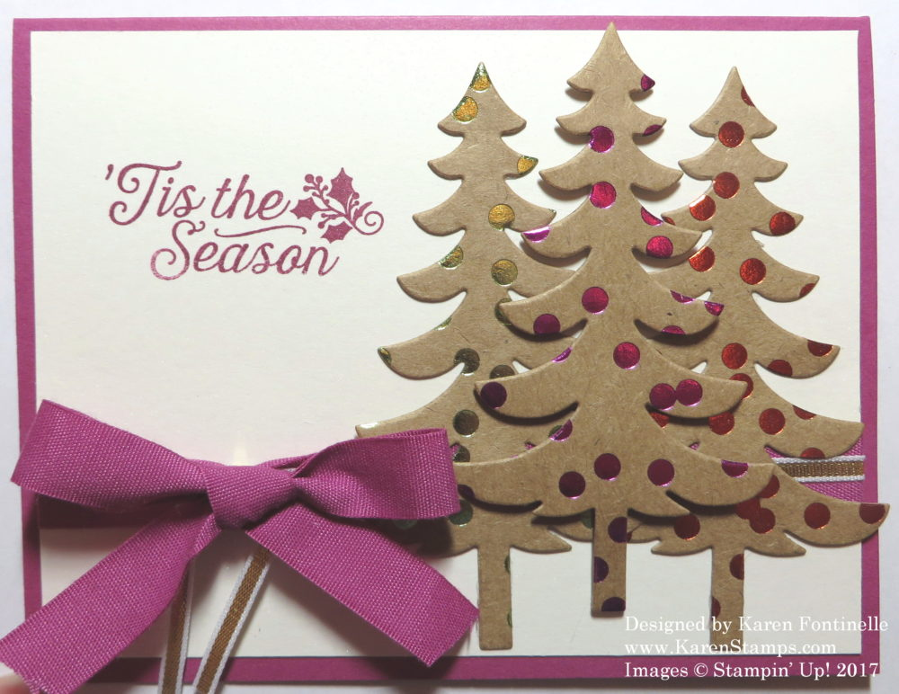 christmas card with foil frenzy christmas trees stamping with karen