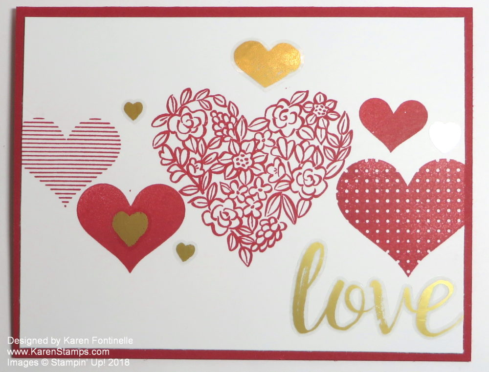 Easy to Stamp Valentine Card With Gold Vinyl Stickers