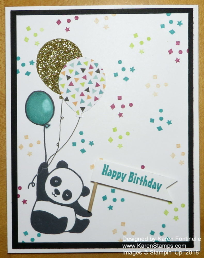 Party Pandas Birthday Card With Balloons