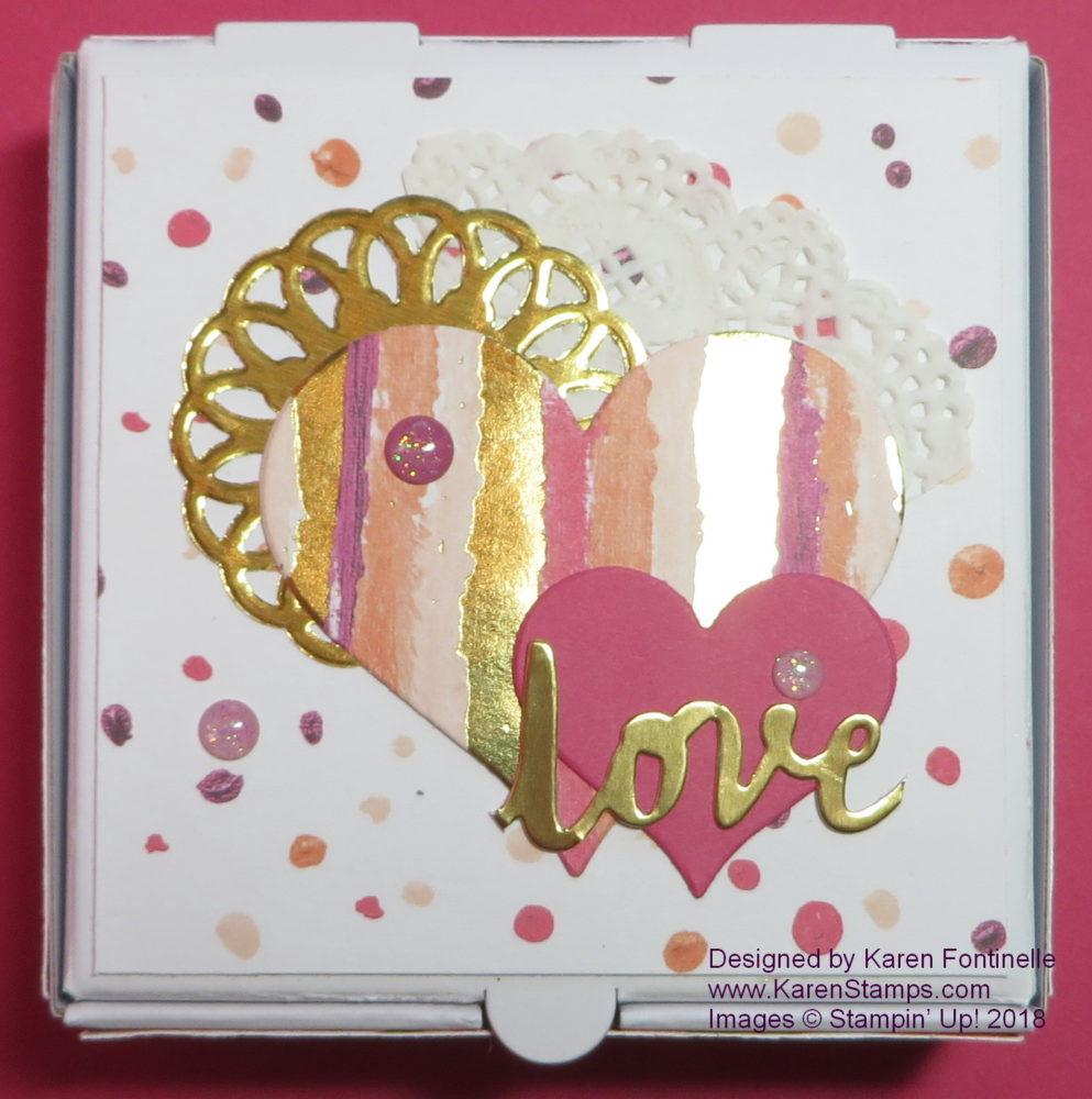 Valentine Treat Box with a Mini Pizza Box Top Closeup