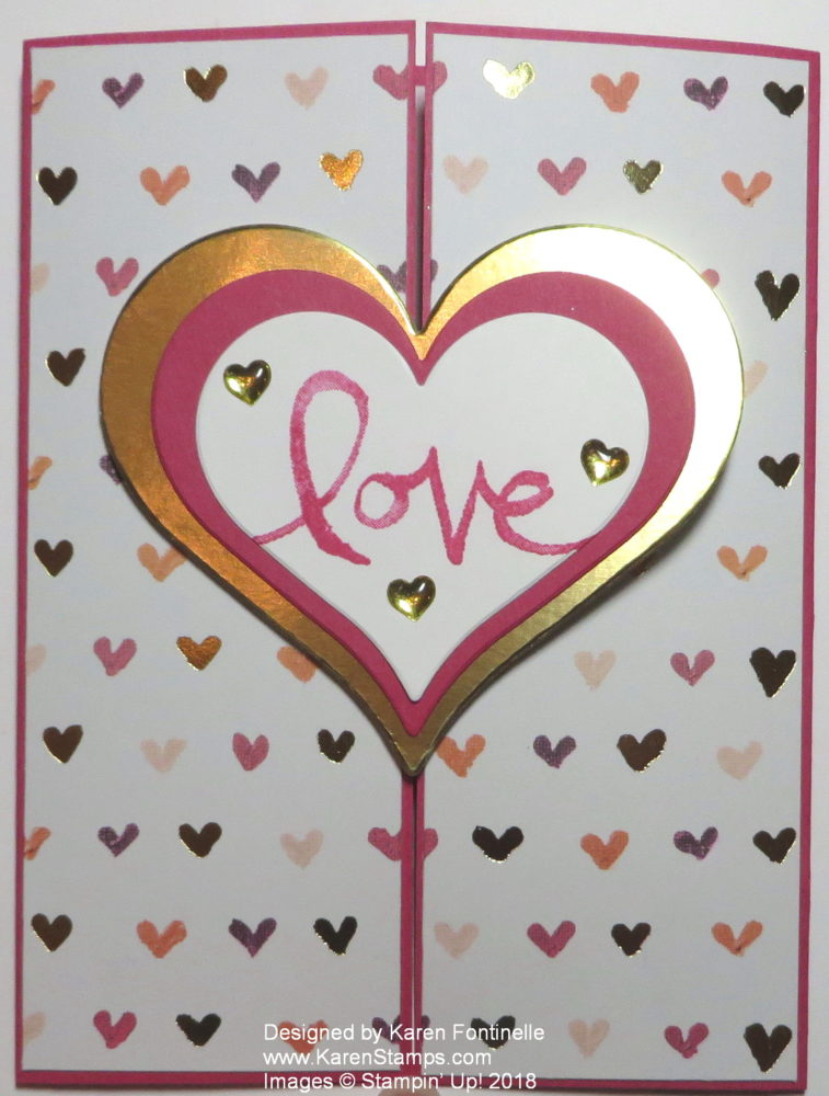 Quick and Easy Gate Fold Valentine Card With Hearts
