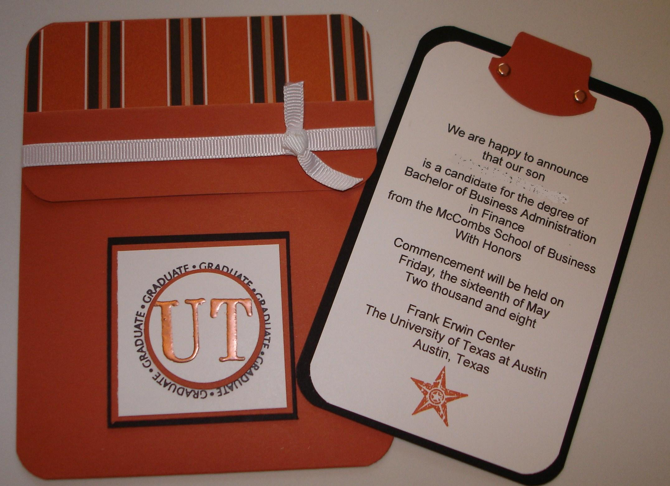 A Pocket Card College Graduation Announcement For Ut Stamping With