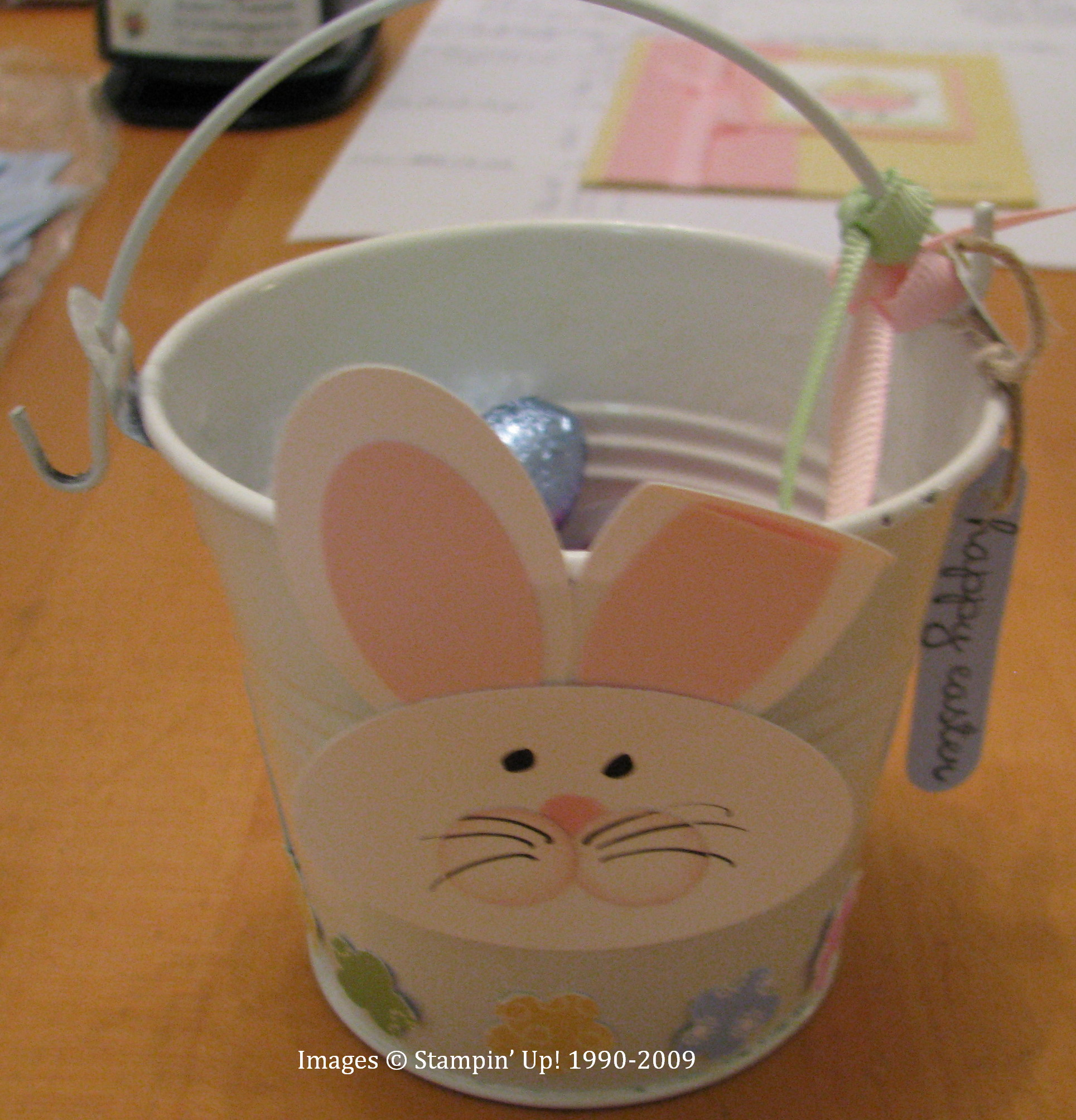 happy easter bunny pail stamping with karen