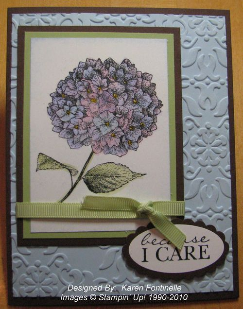 Because I Care Card with Hydrangea