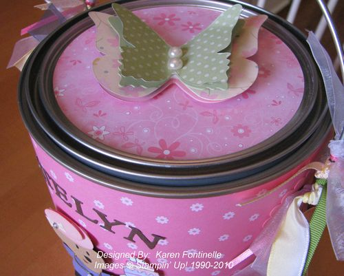 Altered Paint Can top Butterfly