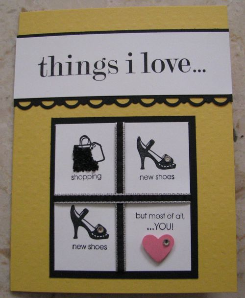Things I Love Shoe Card