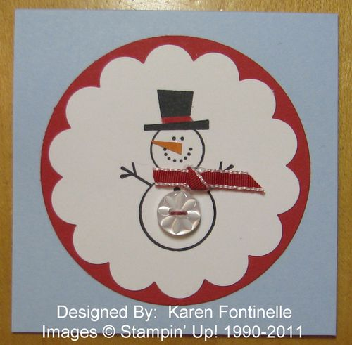 Stampin' Up! Button Buddies Snowman 3x3 Card