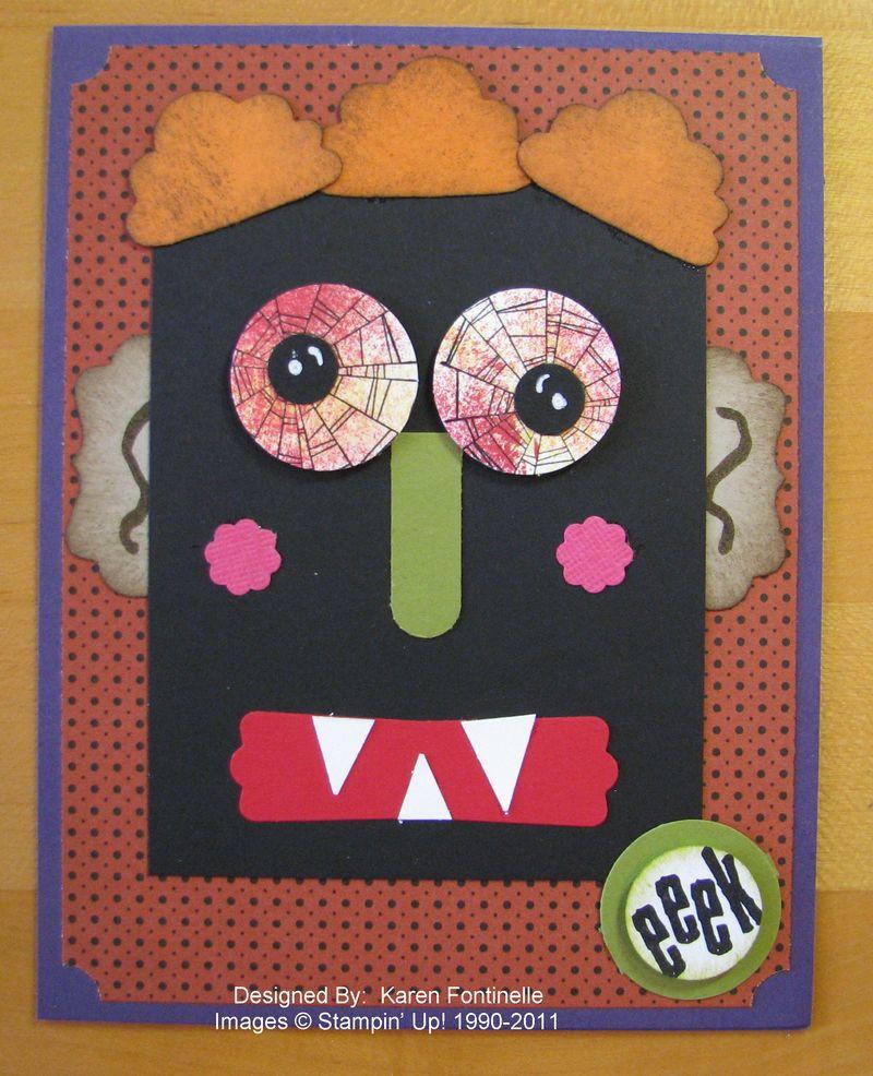Halloween Craft Crazy Halloween Monster Face Card Stamping With Karen