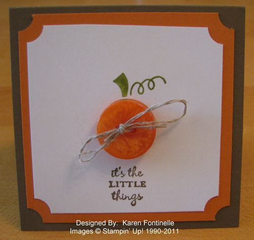 Stampin' Up! Button Buddies Pumpkin 3x3 Card