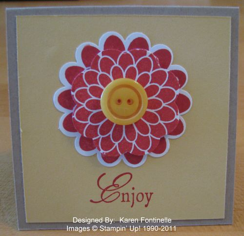 Stampin' Up! Button Buddies Flower 3x3 Card