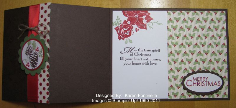 Pines & Poinsettias z-fold Christmas Card Open